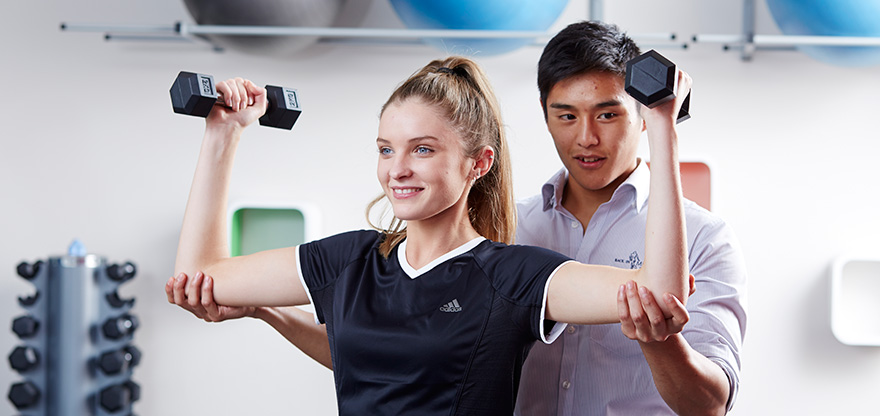 Exercise session with a physiotherapist